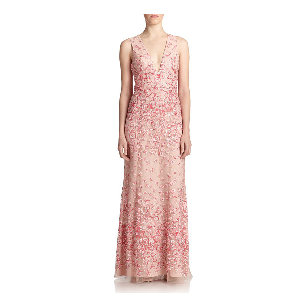 BCBGMAXAZRIA Claudea embroidered v-neck gown - Intricate floral embroidery embellishes this elegant crepe...