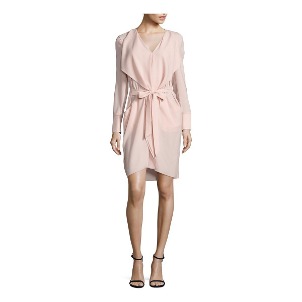 BCBGMAXAZRIA draped tie-front dress - Self-tie belt cinches draped crepe dress.V-neck. Long...