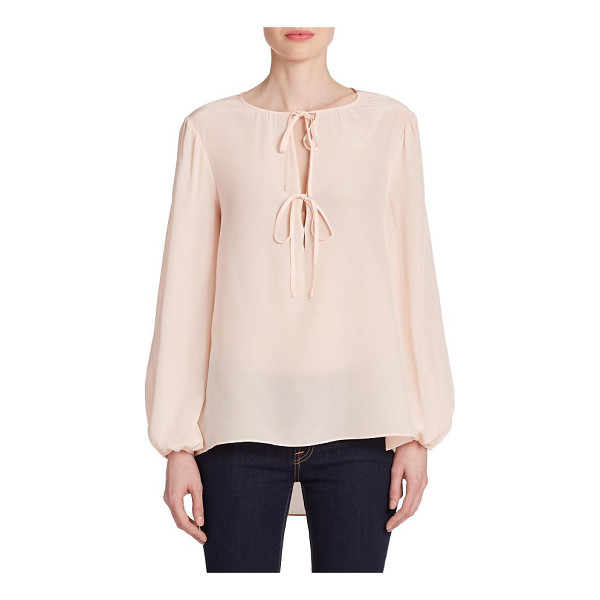 BCBGMAXAZRIA Evanna double-tie peasant blouse - Rendered in smooth and luxurious silk, this peasant blouse...