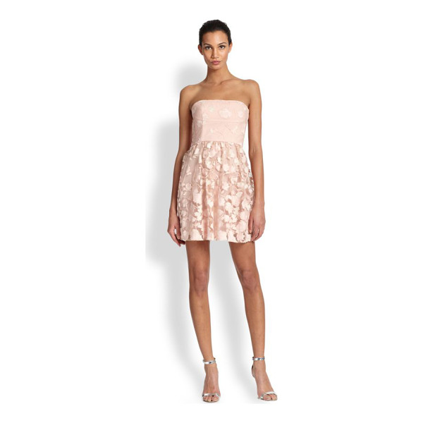 BCBGMAXAZRIA Everly strapless embroidered dress - Tonal floral embroidery and a short and swinging skirt...