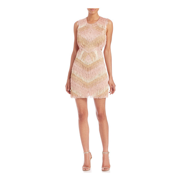 BCBGMAXAZRIA Fringed cut-out sheath - Layers of tiered, multicolor fringe lend a bohemian look to...