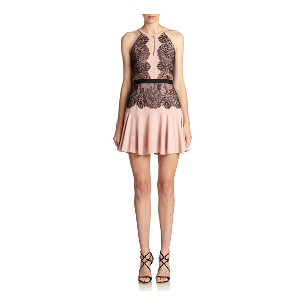 BCBGMAXAZRIA Leyla halter lace-contrast dress - This flirty, keyhole design is instantly amplified by lace...