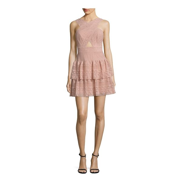 BCBGMAXAZRIA tiered lace halter dress - Tiered lace dress with alluring front cutout. Halterneck....
