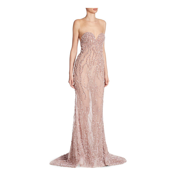 BERTA beaded illusion gown - Glamorous sweeping gown with intricate tonal beading....