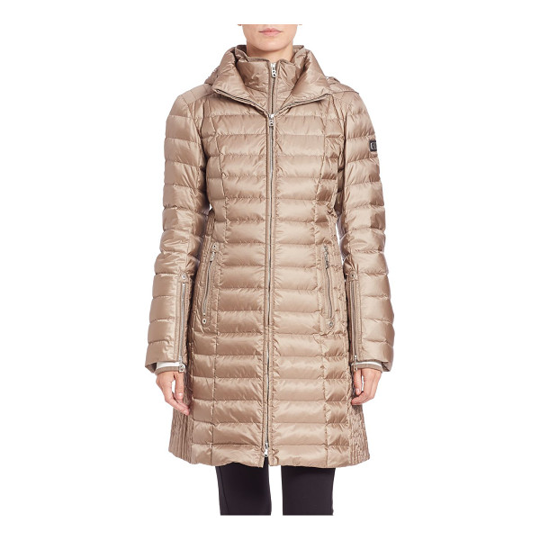 BOGNER Lilia long puffer coat - Lightweight puffer with laminate finishRemovable hoodLong...