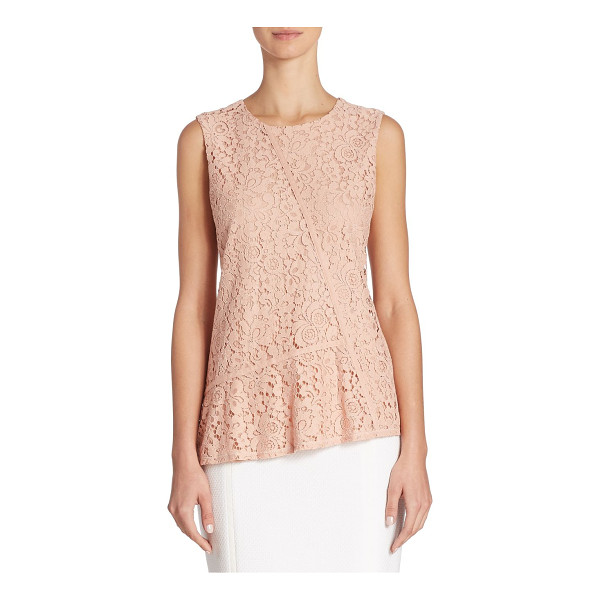 BOSS etopaly jersey & lace top - Asymmetrical top with feminine floral lace front....