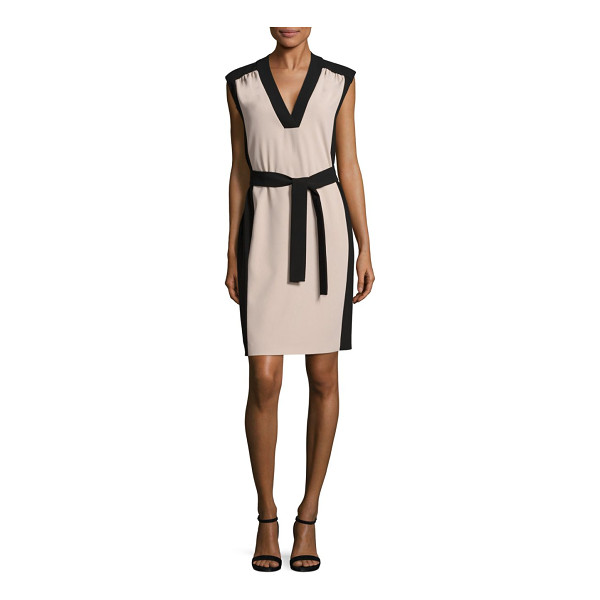 BOSS hakordia colorblock dress - Crepe colorblock sheath dress with tie detail.V-neck....