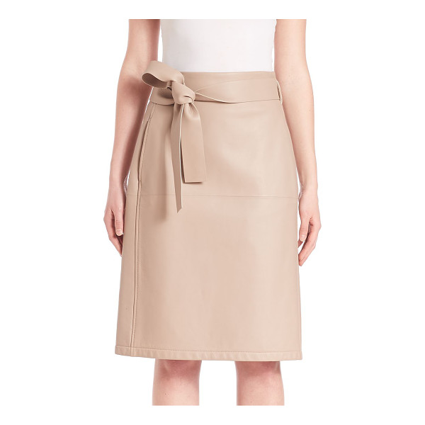 BOTTEGA VENETA belted leather skirt - Leather wrap skirt finished with self-tie belt. Self waist....