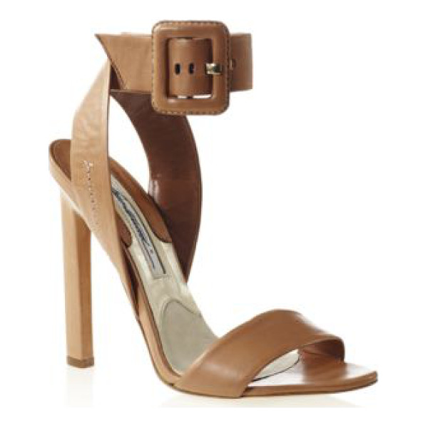 BRIAN ATWOOD Arizona leather ankle-strap sandals - A square buckled strap tops this creamy leather silhouette,...