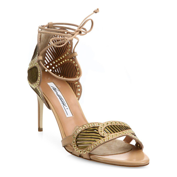BRIAN ATWOOD Gabriella grommeted laser-cut leather ankle-wrap sandals - Scalloped laser-cut leather sandal with micro...