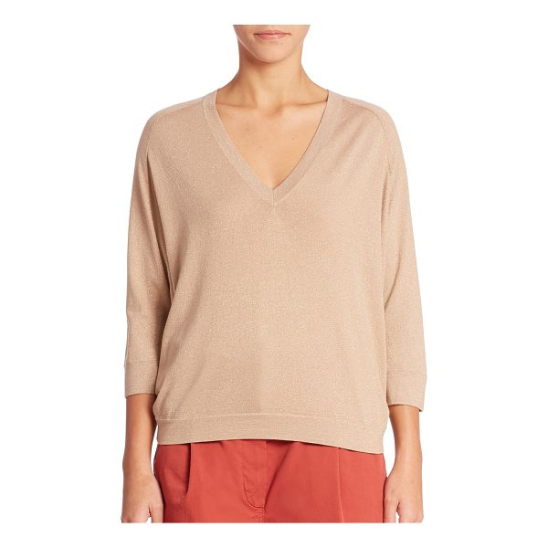 BRUNELLO CUCINELLI cashmere-blend top - Classic top in a banded sheer detail.V-neck. Banded cuffs...