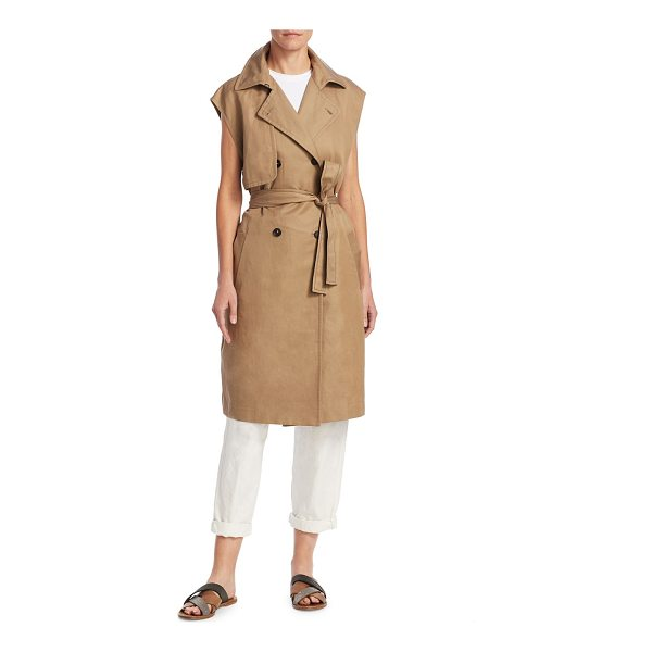 BRUNELLO CUCINELLI mid-length trench vest - Reinvented trench coat in a sleeveless cut. Notched lapel....