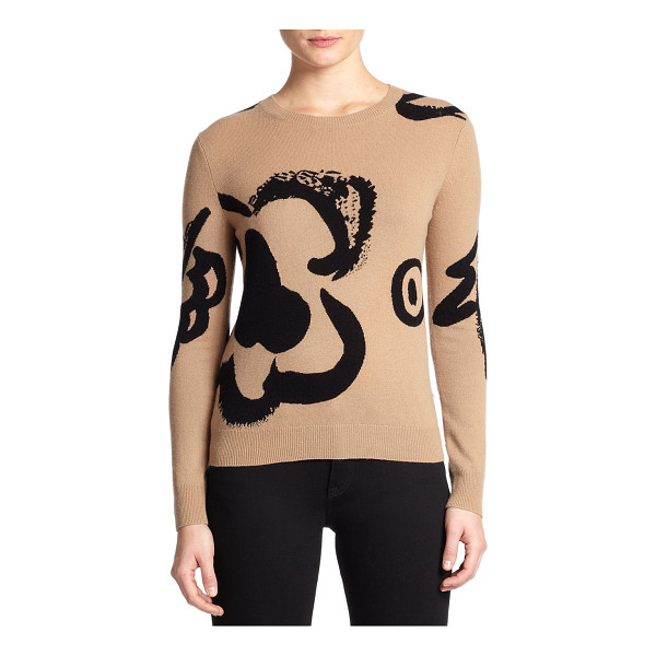 BURBERRY BRIT Wool & cashmere intarsia sweater - Oversized intarsia-knit flowers infuse artful elegance into...
