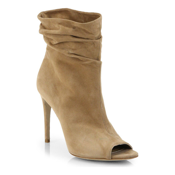 BURBERRY Burlison open-toe suede leather booties - Slouchy leather boots with an open toe and signature logo...