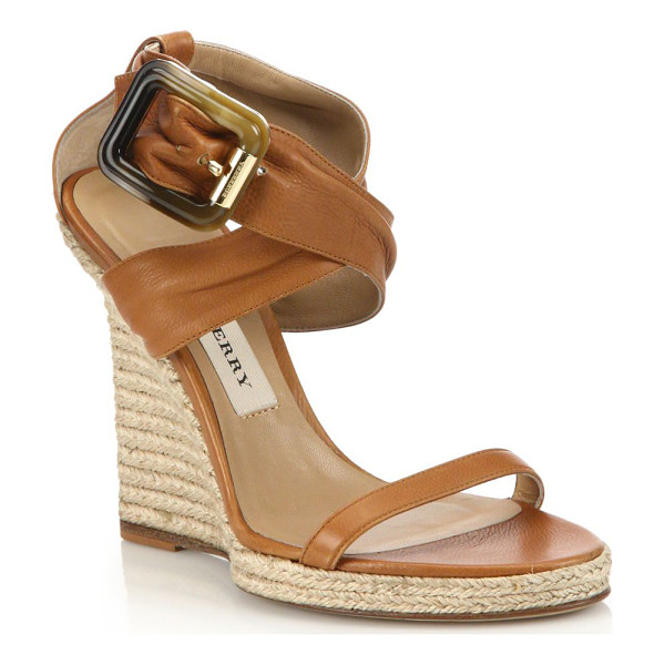 BURBERRY Catsbrook leather espadrille wedge sandals - Leather sandals with crisscrossed ankle strapEspadrille...