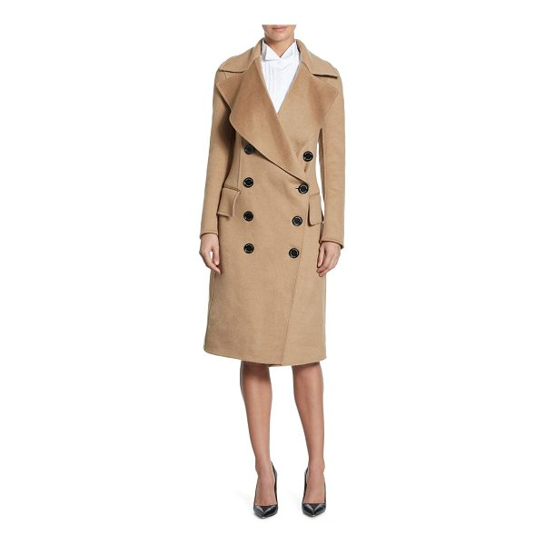BURBERRY crewdale camel hair peacoat - Luxe camel hair peacoat in double-breasted style. Notched...