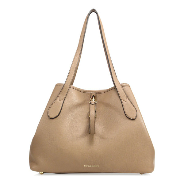 BURBERRY honeybrook medium derby leather tote - Foldable leather tote with polished goldtone hardware....