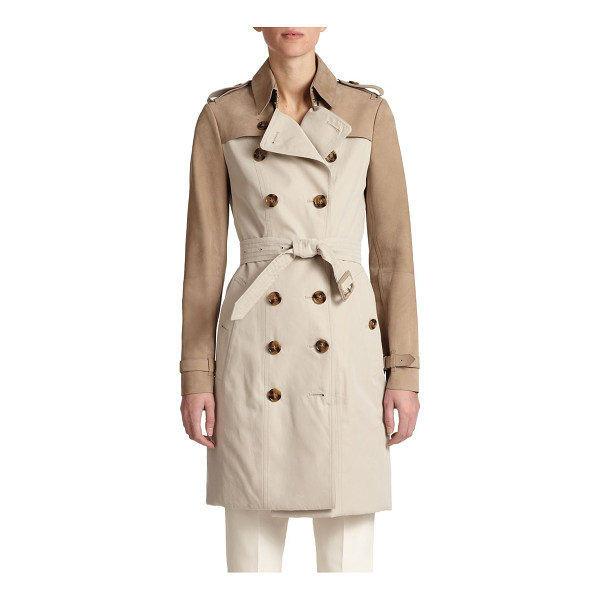 BURBERRY LONDON Bytham mixed-media trenchcoat - Sumptuous leather panels elevate this timeless trenchcoat,...