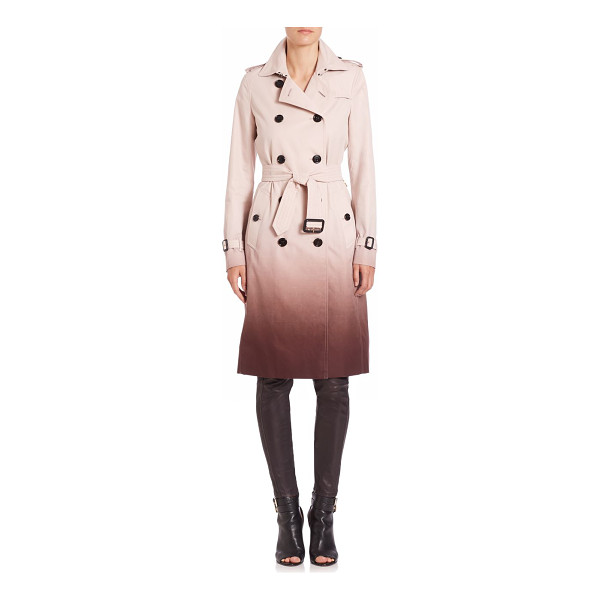 BURBERRY LONDON Double-breasted degrade trench coat - Degrade pattern updates the essential trenchcoat. Notched...