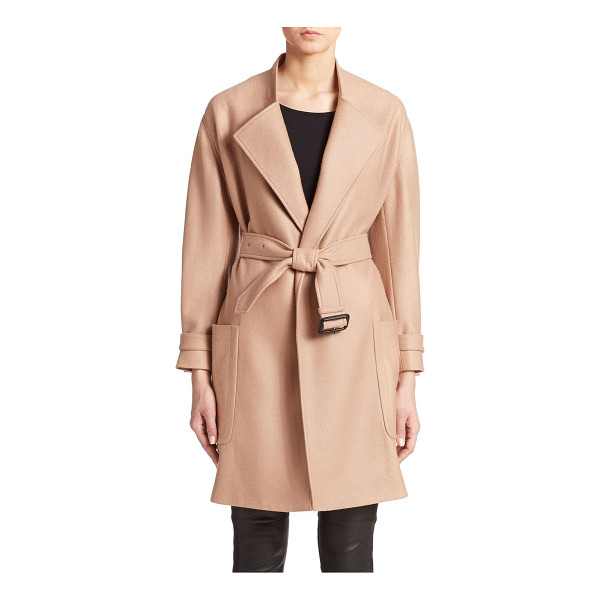 BURBERRY LONDON Heronsby wool/cashmere wrap coat - Easy luxury in a simple wrap style in a soft blend of wool...
