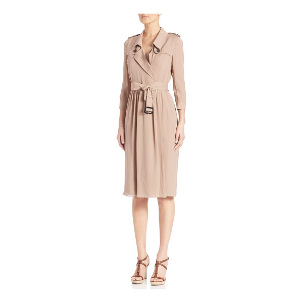 BURBERRY LONDON Iconic trench wrap dress - Trench-inspired wrap dress of Mulberry silkPoint...