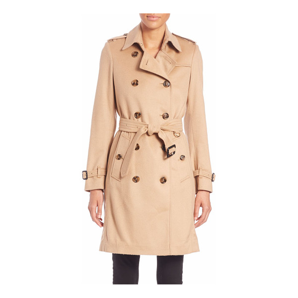 BURBERRY LONDON Kensington camel cashmere trench coat - Classically styled double-breasted trench coatSpread collar...