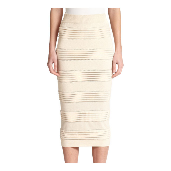 BURBERRY LONDON Knit pencil skirt - Ribbed panels and eyelet trim lend a textural look to this...
