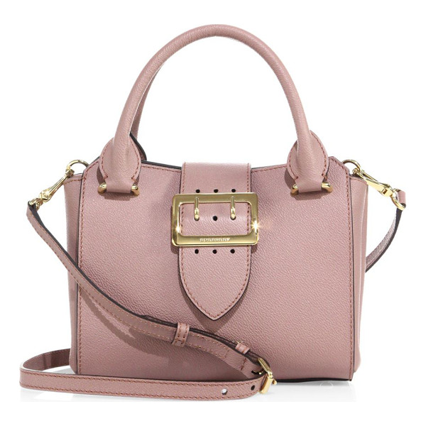 BURBERRY small buckle leather tote - Grained leather tote secured with polished buckle. Double