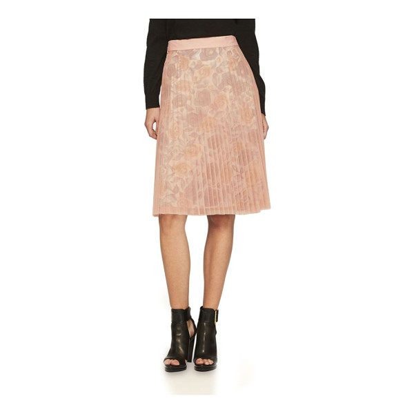 BURBERRY technical-pleated tulle a-line skirt - Gauzy pleated tulle skirt with floral-print lining. Banded...