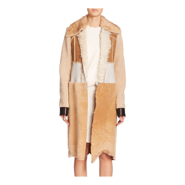 CALVIN KLEIN COLLECTION Demro shearling patchwork coat - Varying textures of soft shearling and leather, joined by...