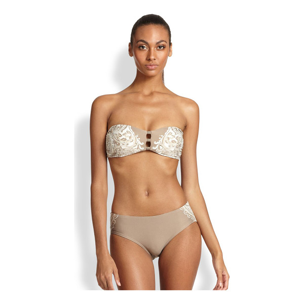 CARMEN MARC VALVO Coast garden beaded bandeau bikini top - Cutouts at the center lend a sultry element to this...