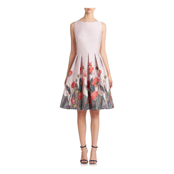 CARMEN MARC VALVO Floral-print pleated cocktail dress - A painterly abstract floral print blossoms from the hem of...