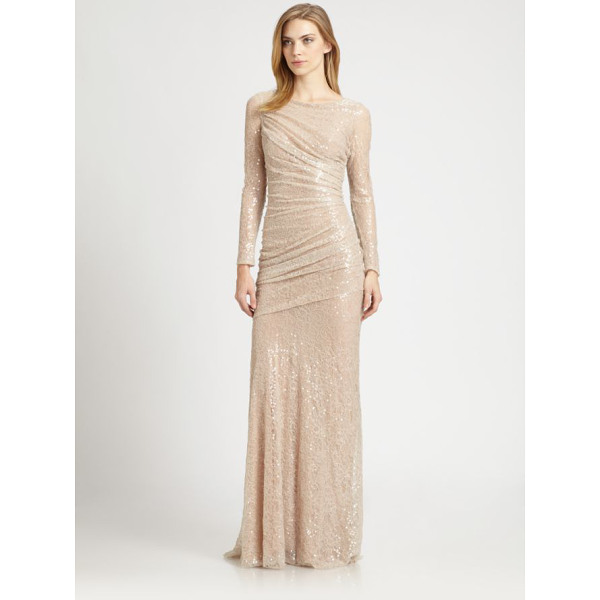 CARMEN MARC VALVO sequined lace gown - Dazzling allover sequins lend glamorous sparkle to this...