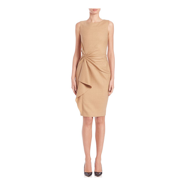 CAROLINA HERRERA Day collection gathered-front dress - Elegant sheath with gathered frontRound...