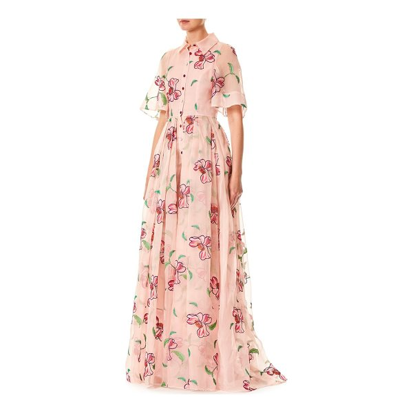 CAROLINA HERRERA floral silk gown - Organza embroidered floor-length silk gown in florant-print...