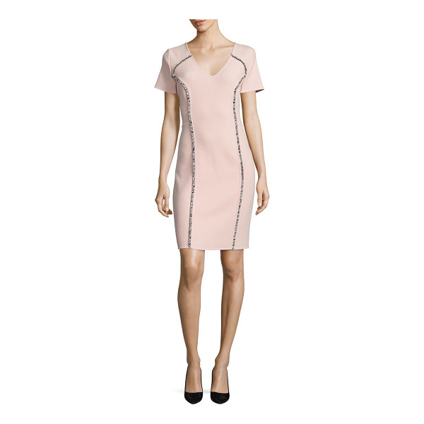 CAROLINA HERRERA fringe-detail wool dress - V-neck wool sheath accented with fringed piping.V-neck....