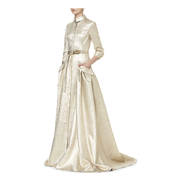 CAROLINA HERRERA gold lame trench gown - Metallic trench gown detailed made from a luxe silk blend....