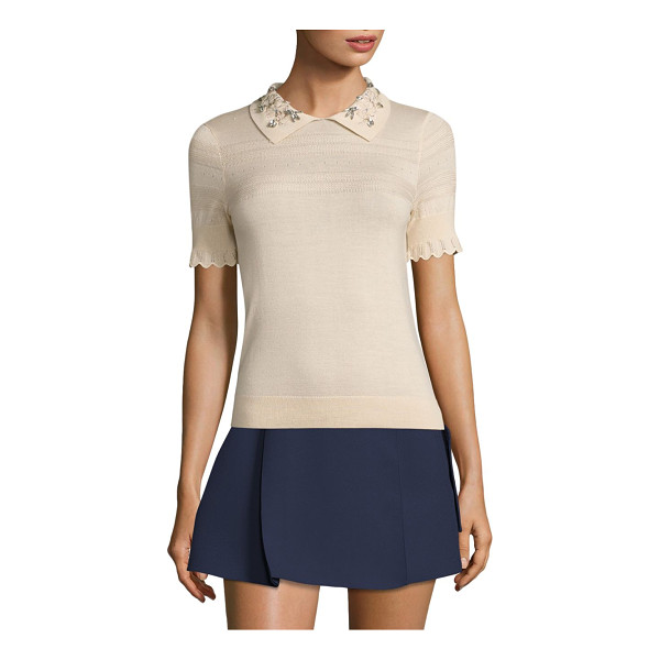 CARVEN jeweled collar top - Jeweled collar amplify this distinctively wool-blend top....