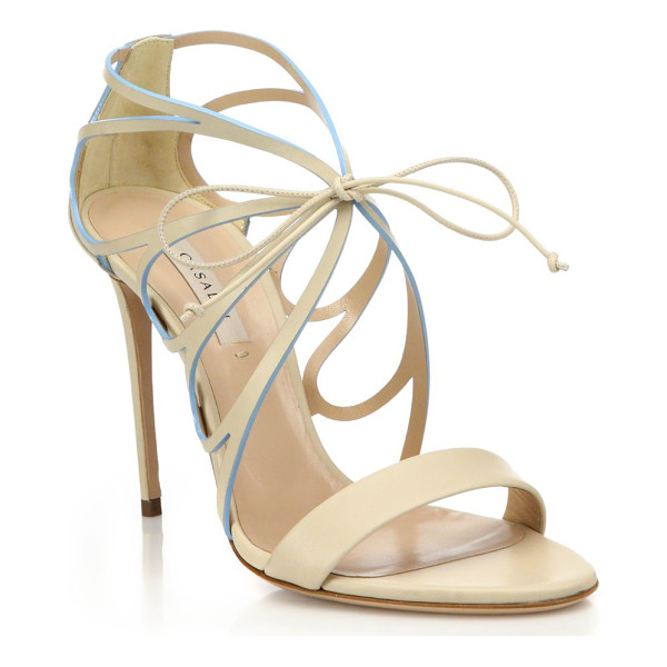 CASADEI Butterfly cut-out high-heel leather sandals - Curvy butterfly cut-out sandal with contrast...