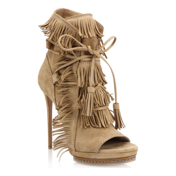 CASADEI Fringed suede peep-toe booties - Moccasin-inspired bootie finished with a peep...