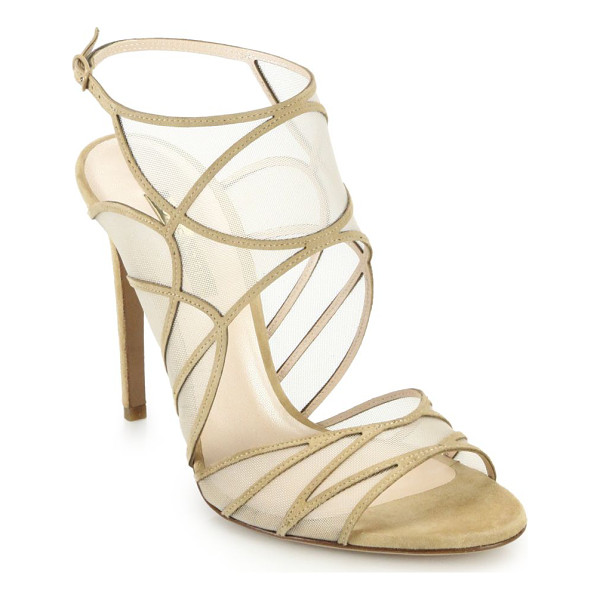 CASADEI Mesh & suede sandals - Sleek, smooth mesh lines the artful geometric cutouts of...