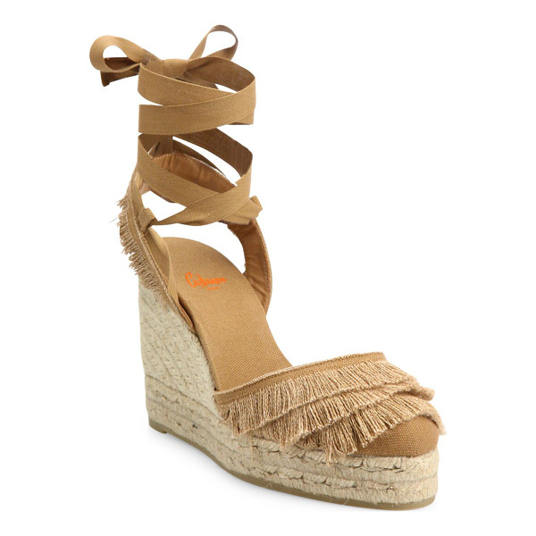 CASTANER cala feathered canvas espadrille wedge sandals - Feathered trim adds swing to wraparound espadrille wedge....