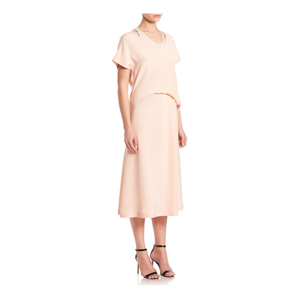 CEDRIC CHARLIER silk draped waist midi dress - Effortless chic with pretty layered draping.V-neck. Short...