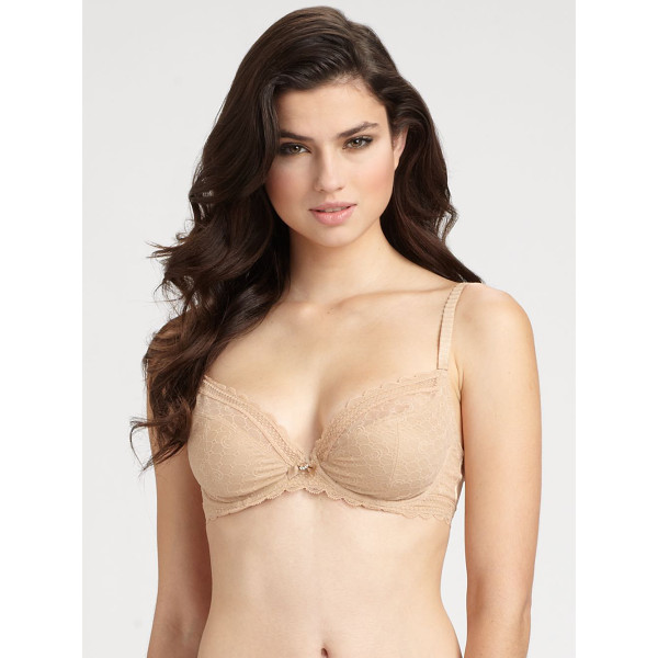 CHANTELLE c chic sexy scallop lace underwire bra - Scalloped sheer lace and a plunging neckline lend...