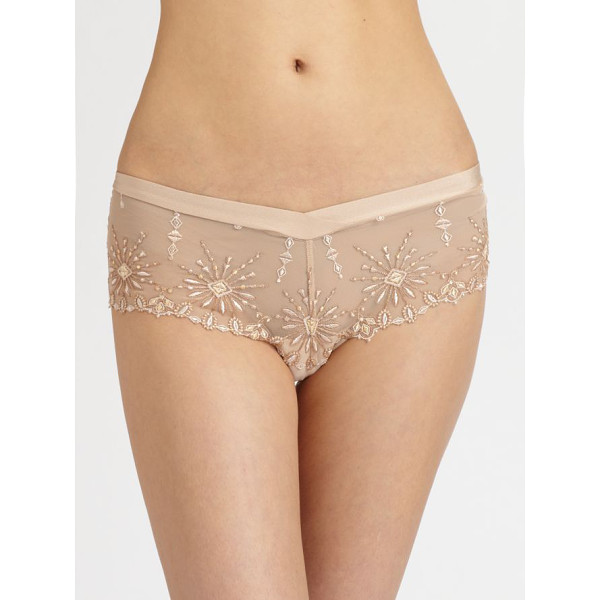 CHANTELLE Vendome brief - Rich embroidery enhances the front and back of this sheer...