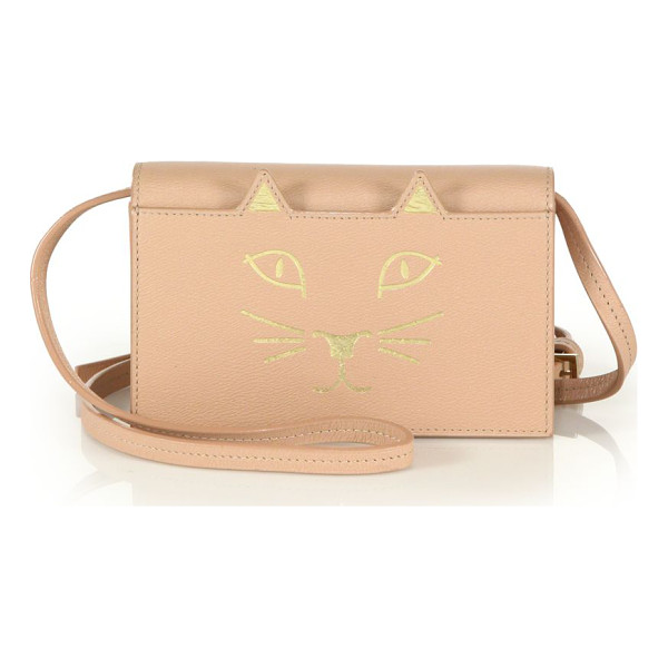 CHARLOTTE OLYMPIA feline leather crossbody bag - Playful feline-inspired crossbody with metallic detail and