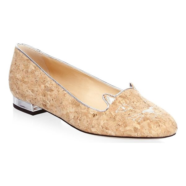CHARLOTTE OLYMPIA kitty cork flats - Natural textured flats with embroidered cat face. Metallic...