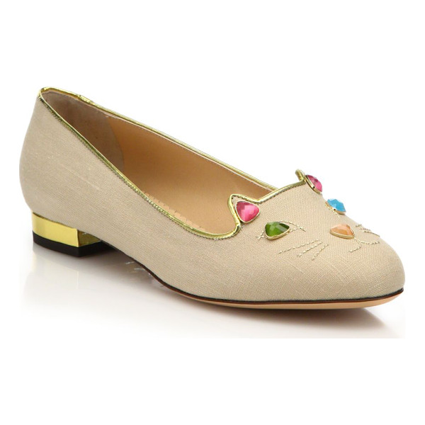 CHARLOTTE OLYMPIA Kitty on the rocks jeweled linen flats - Signature flat with a multicolor jeweled kittyLinen...