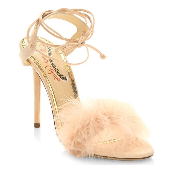 CHARLOTTE OLYMPIA salsa feathers & suede ankle-wrap sandals - Svelte ankle-wrap sandal with vintage-style feather band....