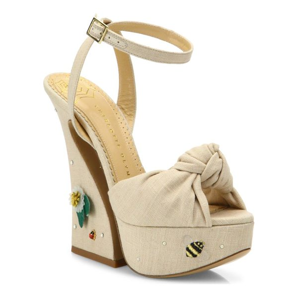 CHARLOTTE OLYMPIA vreeland floral-embroidered knotted linen platform sandals - Knotted linen ankle-strap sandal on embroidered platform....